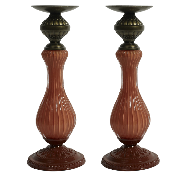 Cianna Candlesticks - Marsala Red, Out There Interiors £85.00