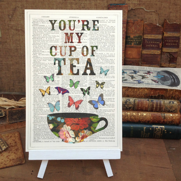 'You're my cup of tea' Upcycled Antique Book Page Art Print, Roo Abrook £10.00