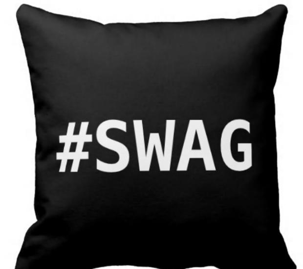 Swag Hashtag Pillows, Zazzle £25.95