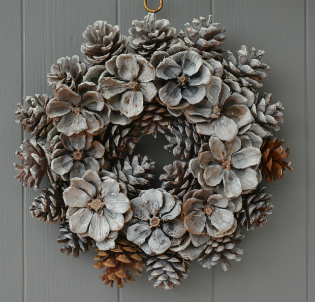 Christmas Rose Pine Cone Wreath, Simply Add Style £9.00