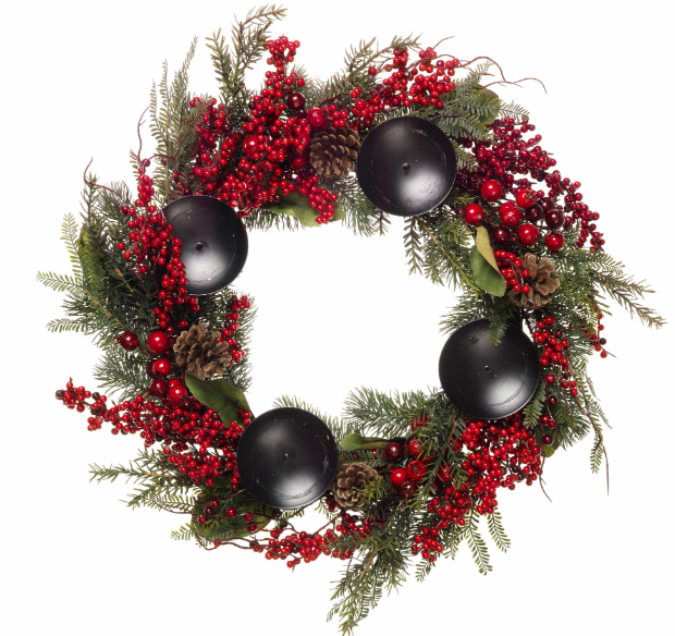 Red berry and fir table wreath, Wyevale Garden Centres £24.99