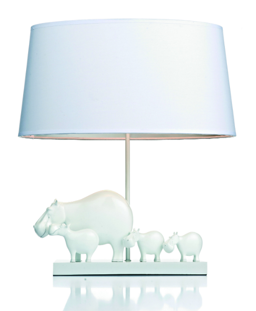 Hippo Table Lamp White with Shade, dar lighting group £107.40