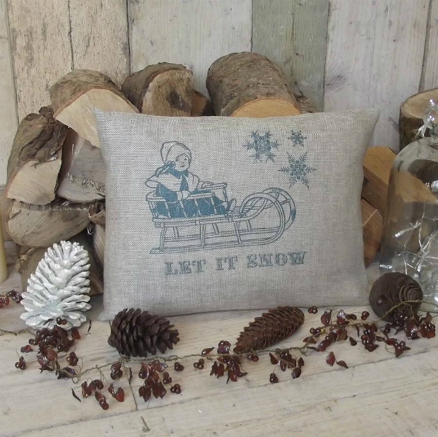 ' Let It Snow ' Christmas Linen Cushion, Rustic Country Crafts £32.00