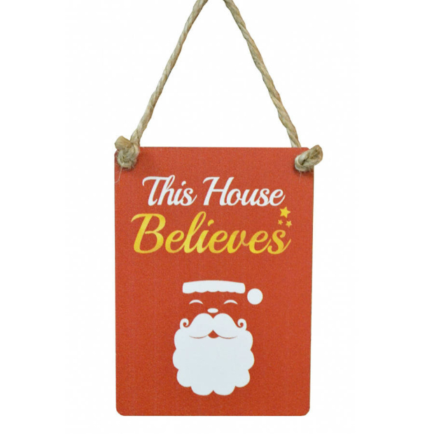 Mini This House Believes Christmas Sign, Not on the High Street £3.95
