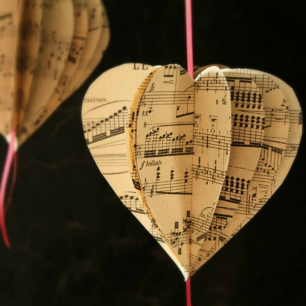 Vintage Music Score Paper Heart Decoration, Not on the High Street £1.50