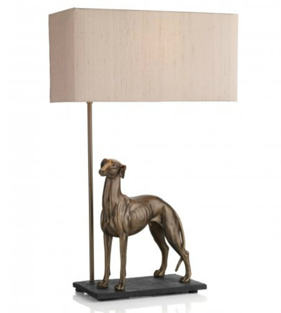 Artisan Lighting Greyhound bronze dog sculpture table lamp with shade, Bespoke Lights £162.00