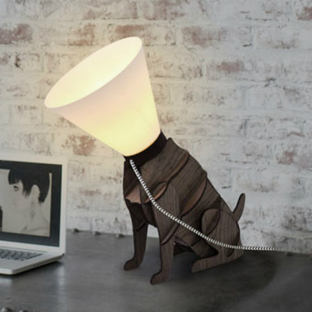 Modern Sitting Dog with Cone Shade Table Lamp, Iconic Lights £35.00