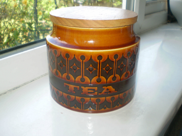 Hornsea Pottery Heirloom Tea Storage Jar Wooden Lid Retro 1970s Vintage, ebay £14.99
