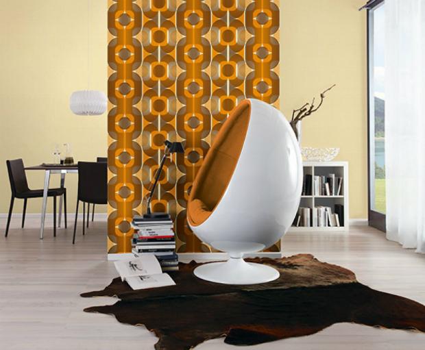 Danke Retro 70's Celebration Orange Wallpaper, Home Flair Decor £12.50