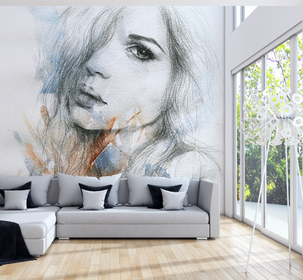 Watercolor Portrait - Wall Mural by PIXERS £436.00