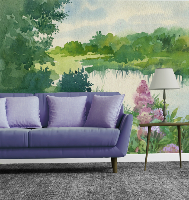 Watercolor Landscape - Wall Mural by PIXERS £347.00