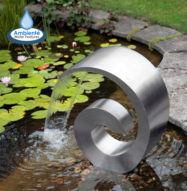 Ammonite Stainless Steel Cascading Water Feature, Primrose £309.95