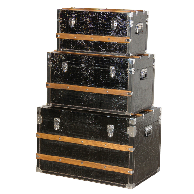 Three Piece Black Storage Trunks, Sweetpea & Willow £305.00