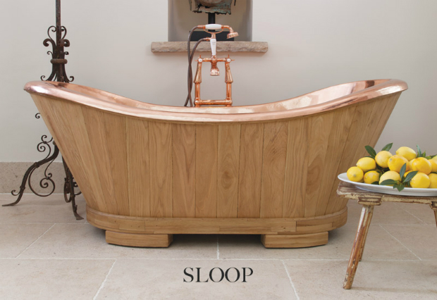 Sloop Copper Interior Clad with Oak, Hurlingham Baths