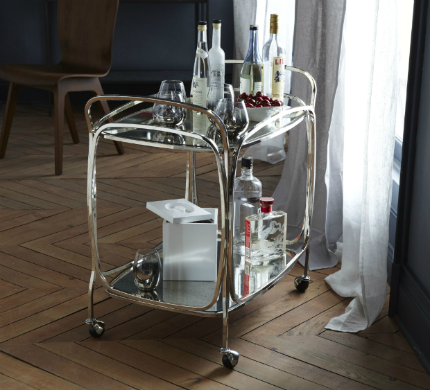 Foxed Mirror Bar Cart, West Elm £349.00