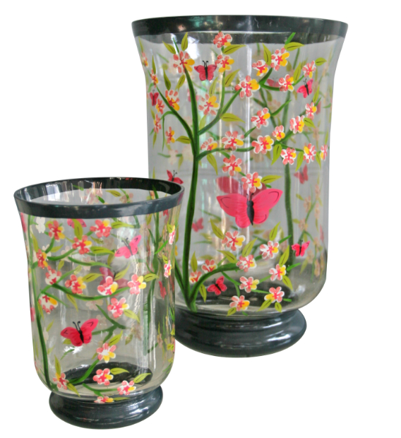 Handpainted hurricane lamps, Berry Red £14.00