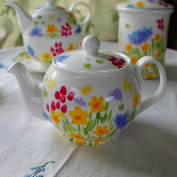 Meadow flowers hand painted teapot, Laura Lee Designs £30.00