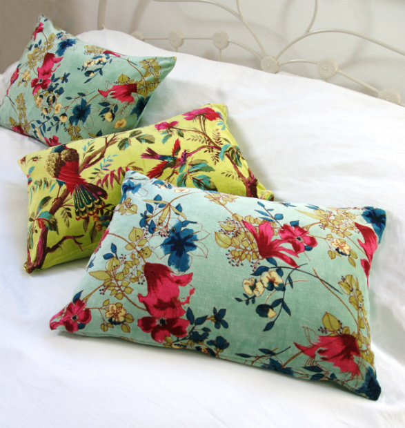 Aqua And Lime Velvet Cushions, Red Lilly £19.90
