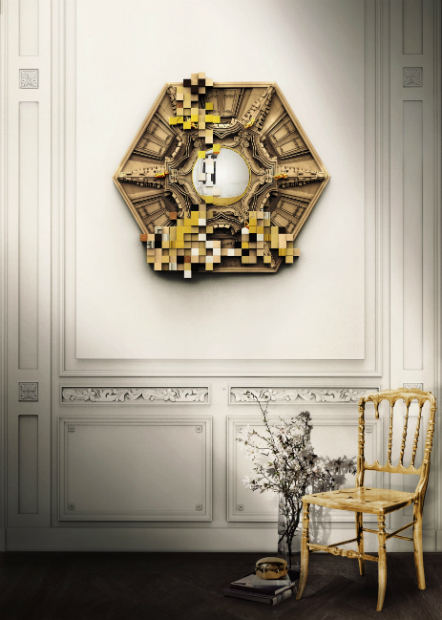 Gold Hexagonal Pixel Mirror, Touched Interiors £10980.00