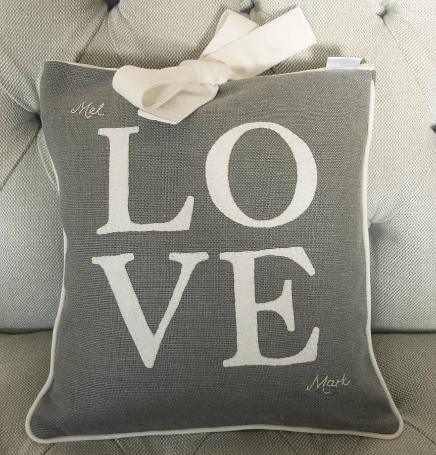 Grey Linen Love Cushion, Not on the High Street £69.99