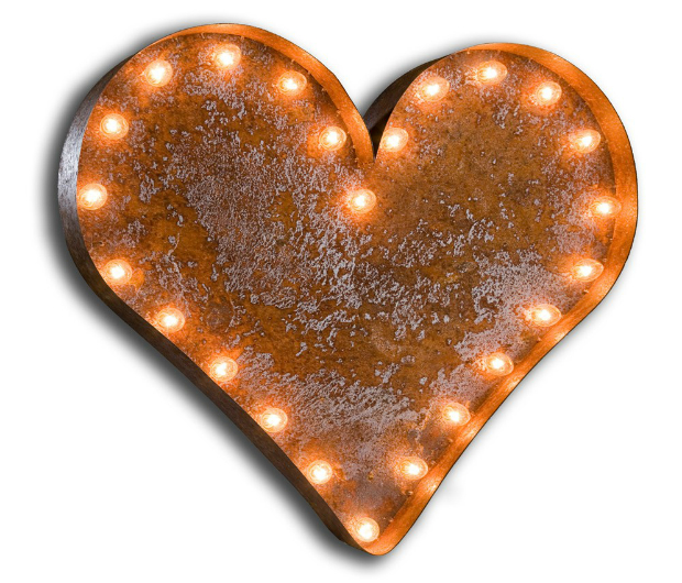 Urban Industrialists Vintage Letter Light Heart, Occa-Home £299.00