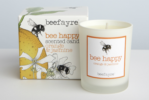 Bee Happy Small Candle, Berry Red £8.50