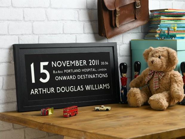 New Baby Personalised Bus Print, Betsy Benn Designs £55.00