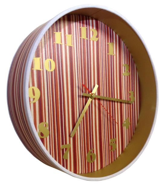 Red Stripe Veneered Drum Clock, Swanky Maison £75.00