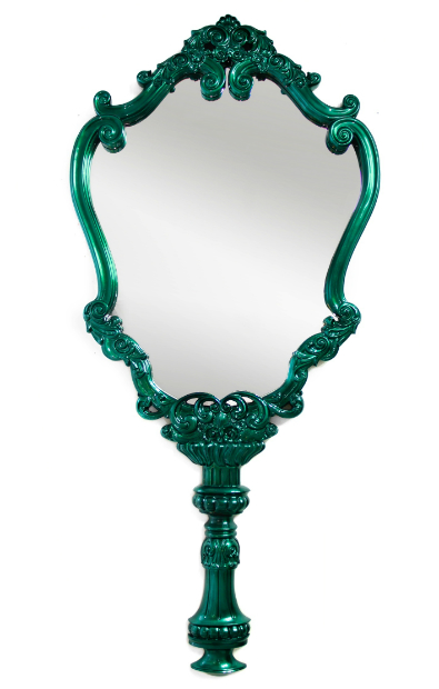 Carved Emerald Hand Held Design Large Wall Mirror, Touched Interiors £11190.00