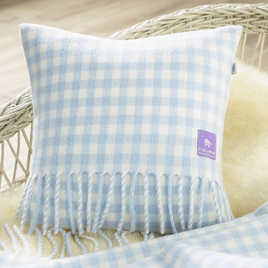 Gingham Design Wool Baby Cushion, Not on the High Street £39.99