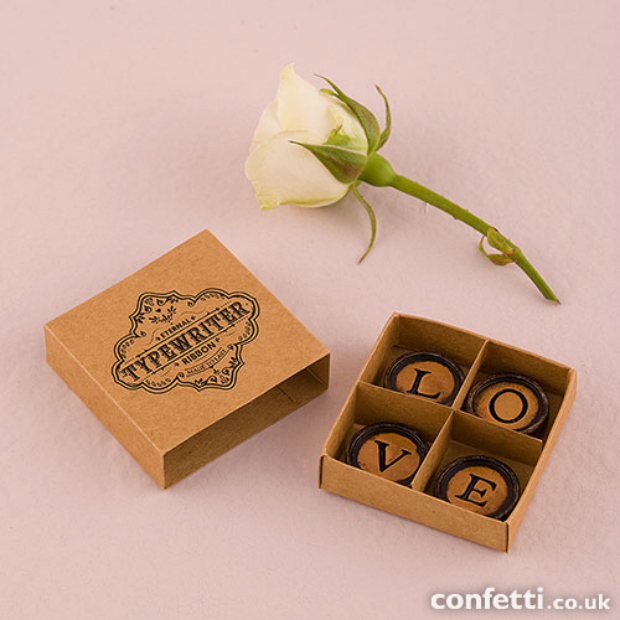 Love Vintage Typewriter Key Magnets With Gift Packaging, Confetti