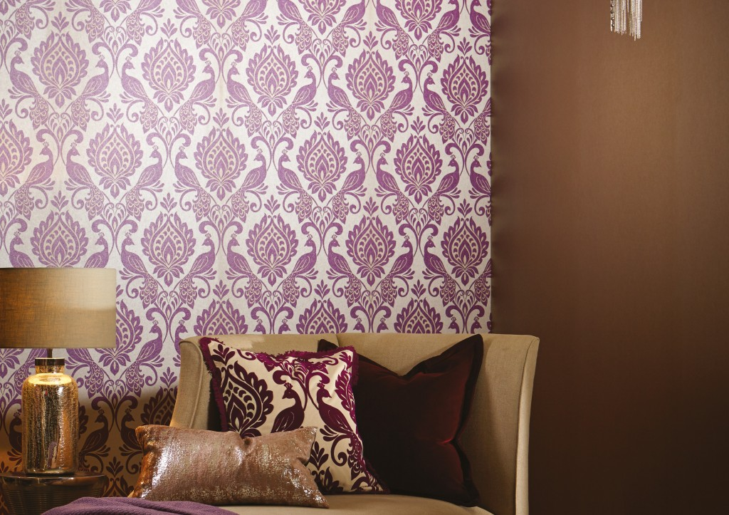 Borromeo Plum Textured Wallpaper, Arthouse £45.00