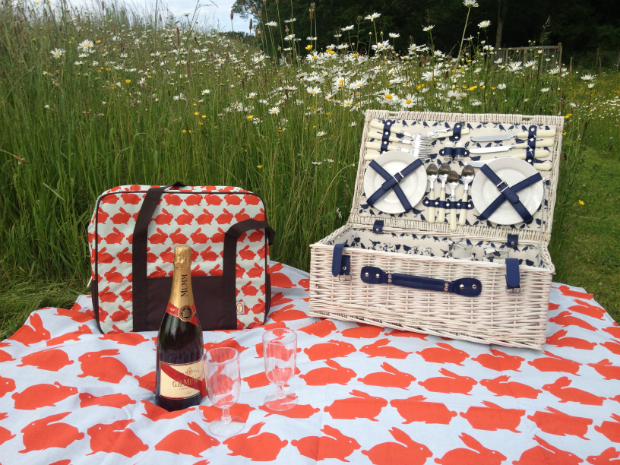Kissing Rabbits Picnic Blanket, Annabel James £35.95
