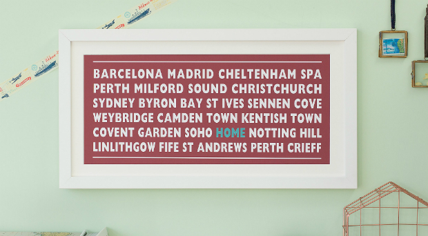 Personalised 'Home' Destination Print, Betsy Benn Designs