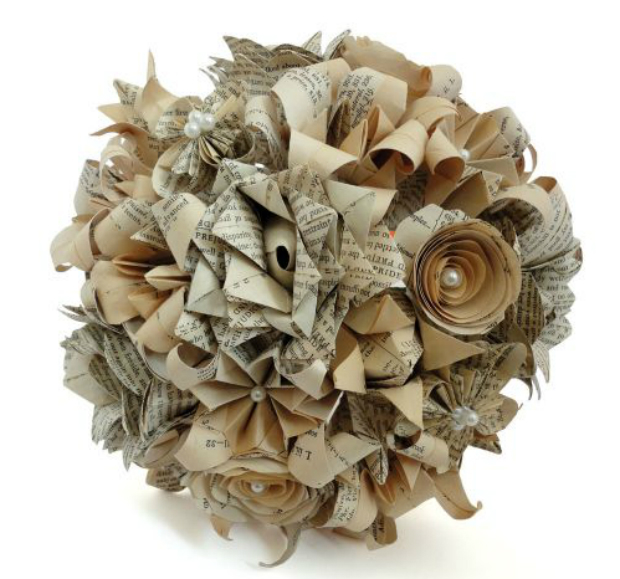 Book Pages Origami Mix Flowers Wedding Bouquet, Gift Wrapped and Gorgeous £179.00