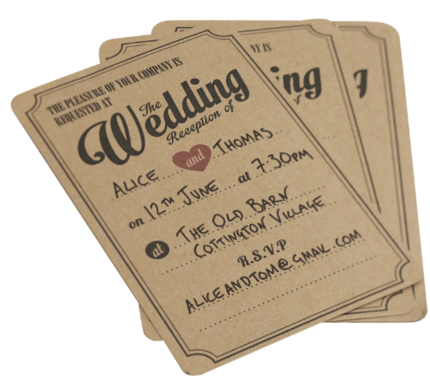 Wedding Evening Invitations in Brown Kraft Vintage Affair, Ginger Ray £3.99