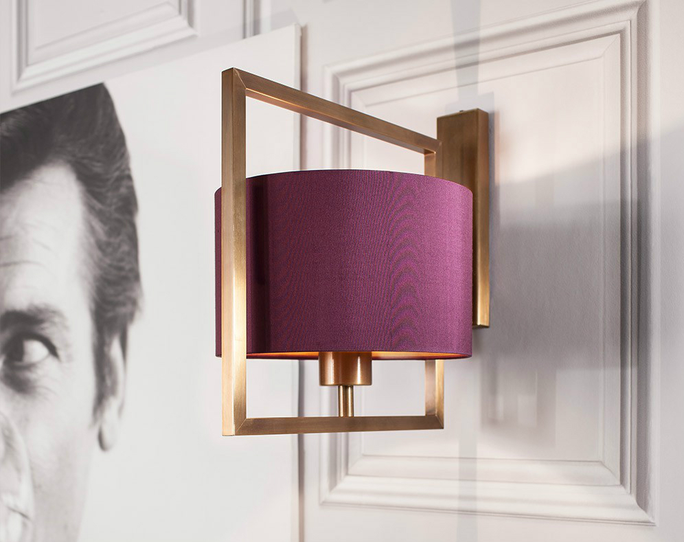 Heathfield & Co Conniston Wall Light Antique Brass With Plum Silk Shade, Occa-Home £375.00