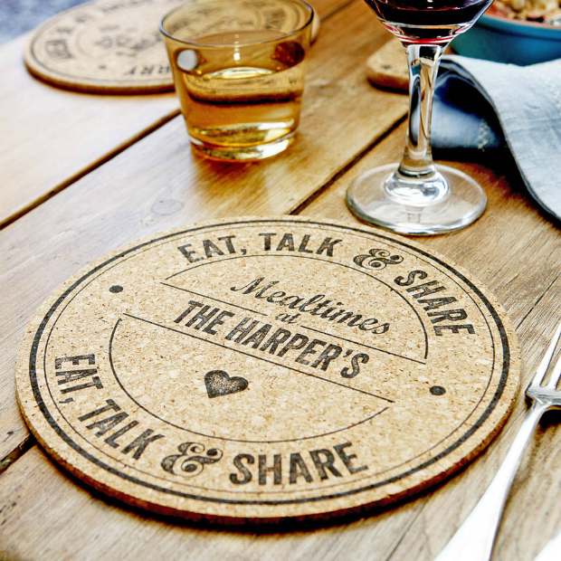 Personalised Cork Placemats Set Of Six, Not on the High Street £55.00