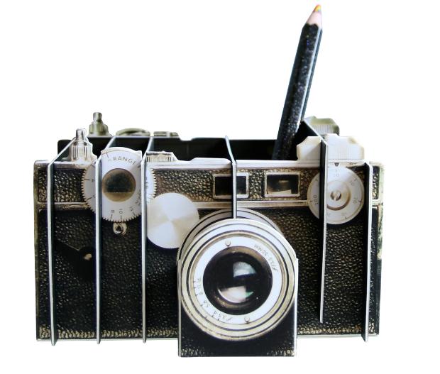 Vintage Camera Desk Organiser, Berry Red £11.00