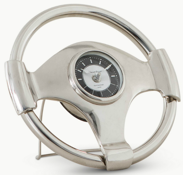 Nickel Steering Wheel Standing Clock, Hoi Polloi £59.99