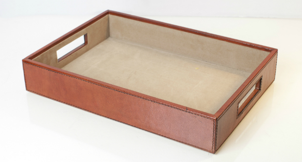Harvard Leather Paper Tray, Leather & Lavender £45.00