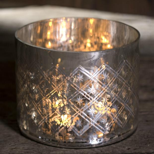Giant Etched Glass T Light Holder, Oscar & Eve £45.00