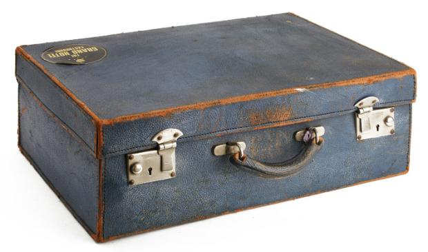 Vintage Blue Leather Suitcase, Raspberry Mash £25.00