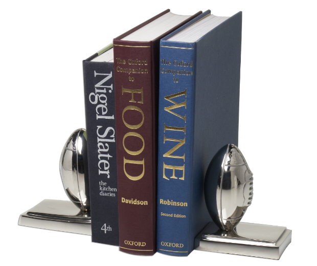 Silver Rugby Ball Book Ends, Whisk Hampers £69.50