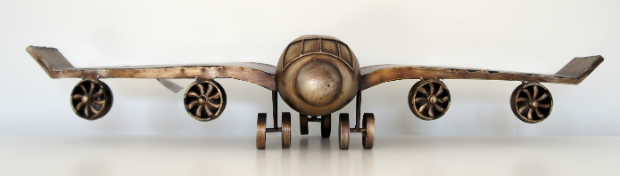 Heaven Sends Gold Metal Airplane Shelf With Jet Engines, KiwiFunk £55.99