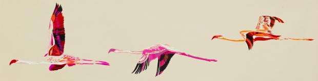 Vermillion Flamingos Canvas, Luku Home £315.00