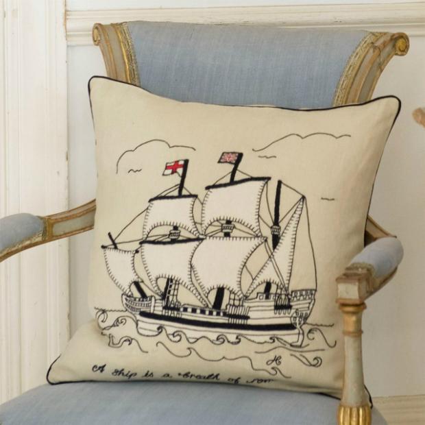 Mayflower Galleon Cushion, Jan Constantine £94.00