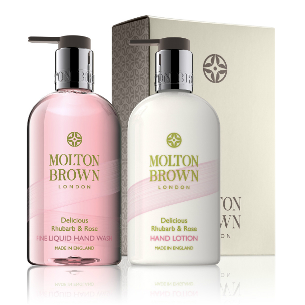 Delicious Rhubarb & Rose Hand Wash & Lotion Set, Molton Brown, £36.00