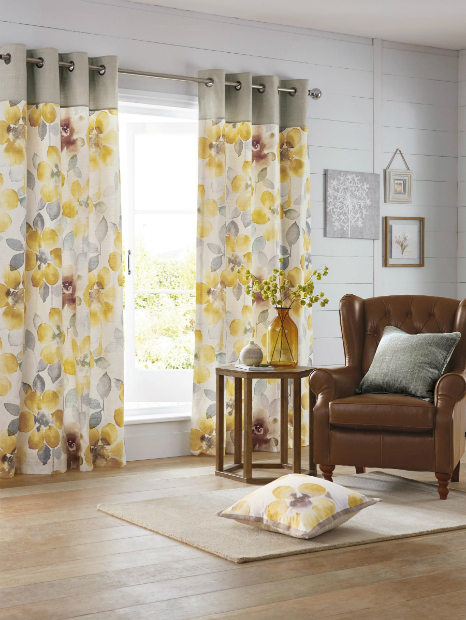 Ochre Watercolour Bloom Eyelet Curtains, Next £45 - £125