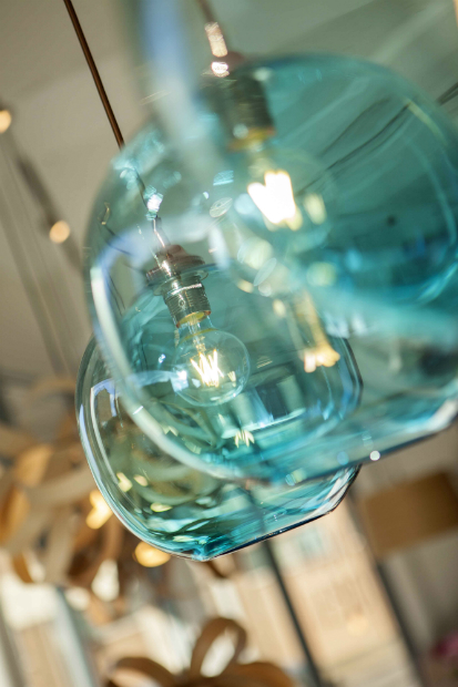 Copper blue glass ball lights from £295 each